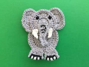 Elephant Head Applique With Light Pink Ears / Crocheted Elephant ... | 225x300